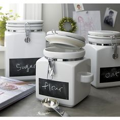 Clamp Canisters with Chalkboard | Crate and Barrel