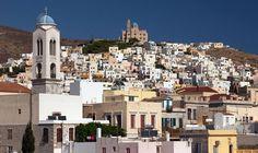 Σύρος Paros, Santorini, Places To See, Paris Skyline, Branding Design, Transportation, Greece, Dolores Park, Island