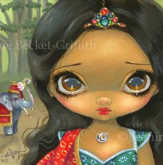 Faces of Faery 192 | Art by Jasmine Becket-Griffith. Hindu Princess and elephant.