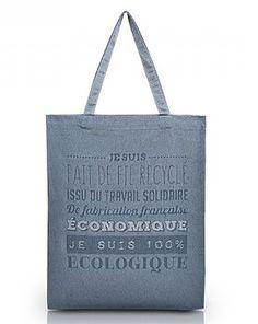 Description: Sac tote bag en fil de coton recyclé, fabrication française. Dimensions : 375 x 475 mm. Matériau : coton 150g. Personnalisation : 1 couleur (250x250mm) ou quadritransfert (281x194mm). Couleurs : bleu, rouge, vert, gris, moutarde, beige, rouille.