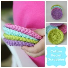 Love the idea of little face scrubbies for the bathroom.  Always looking for something to make with little bits of yarn.