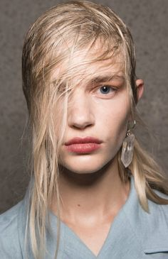 Hairstyles at the Preen London Fashion Week SS18 show were all about textures and included multiple braids, wet wispy partings and tousled frizz.