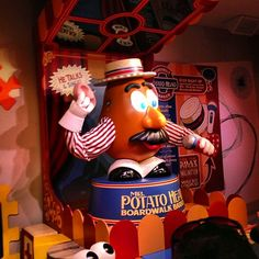 Mr Potato Head pulls off his ear trick at Toy Story Midway Mania at Disney's Hollywood Studios