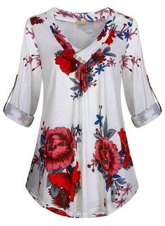 Compre Plus Size Blusas, Venda, Loja Online de Plus Size Blusas de Moda Feminina - Floryday Floral Print Shirt, Floral Blouse, V Neck Blouse, Tunic Shirt, Blouses For Women, Women Tunic, Plus Size Blouses, Latest Fashion For Women, Fashion Online