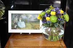 National Gallery Shops  Gainsborough Bouquet - The accentuated colours of the blue in Mrs Andrews dress and the stormy skies contrast with the fresh green of the fields have inspired this splendid bouquet. #NGArtBouquet #Bouquet #Flowers #Art