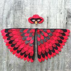 Magische KARDINAL Kostüm, Flügel und Maske: 0-24 Monate/2-5 Jahre/6-10 Jahre-Eco-Friendly! Baum + Vine