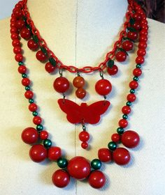 Vintage 1930's Red Catalin Bakelite Cherries Cherry by NativeBliss