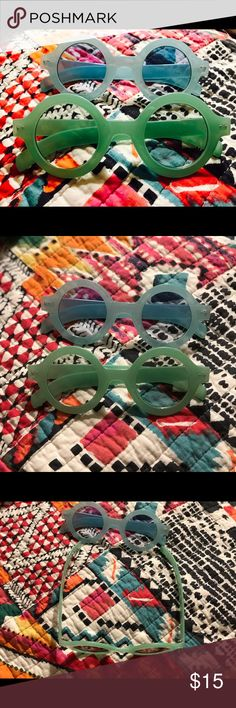 Pastel Colored Sunglasses A really fun pair of round sunnies! Mint green and light blue just for you! Selling as a pair---Material: Plastic Accessories Sunglasses