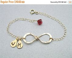 ON SALE Infinity bracelet, Initial Bracelet, Birthstone bracelet, Gold filled Bracelet, Best friend bracelet, Eternity bracelet,