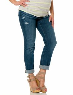 CROPS: Motherhood Maternity Indigo Blue Secret Fit Belly(r) Roll Hem Maternity Crop Jeans
