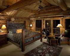 Cozy Cabin Bedroom With Interior Window ... #cabin #home Decor #bedroom | Log  Cabin Homes | Pinterest | Cabin, Logs And Bedrooms