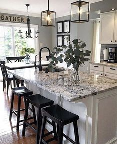 Love a Farmhouse kitchen, but on a tight budget? See these Top 10 Farmhouse Kitchens makeovers on a budget. Painted cabinets, farmhouse sinks, and more. Love a Farmhouse kitchen, but on a tight budget? See these Top 10 Farmhouse Kitchens Kitchen Ikea, White Kitchen Cabinets, Kitchen Cabinet Design, Farmhouse Kitchen Decor, Kitchen Redo, Farmhouse Sinks, Farmhouse Style, Gray Kitchen Walls, Kitchen Backsplash