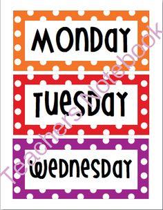 Days of the Week Rainbow - Polka Dot - Word Wall - Bulletin Board - Freebie! Polka Dot Classroom, Classroom Labels, Classroom Decor, Disney Classroom, Classroom Design, Beginning Of The School Year, First Day Of School, Polka Dot Theme, Polka Dots