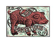 Pig Farm Series ~ Linocut ~ Neil Stavely, Horse & Hare