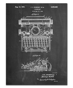 """""""Typewriter"""" by Cole Borders Graphic Art on Wrapped Canvas East Urban Home Size: 122 cm H x 91 cm W x 3 cm D Aberdeen, Black Grunge, Patent Prints, Stretched Canvas Prints, Framed Wall Art, Framed Prints, Canvas Size, Wrapped Canvas, Graphic Art"""