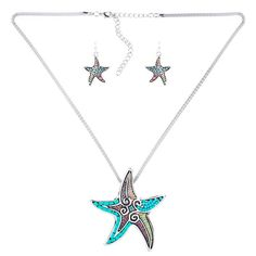 Showcase your love for the sea with this colorful beaded starfish necklace and earring set. Beaded Starfish Pendant and Earring Set Beaded Starfish, Starfish Necklace, Necklace Set, Jewelry Sets, Earring Set, Wedding Jewelry, Fashion Jewelry, Beads, Pendant