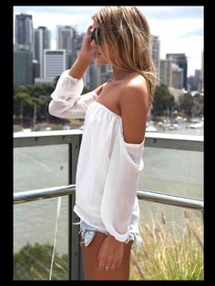Cute white off the shoulder top