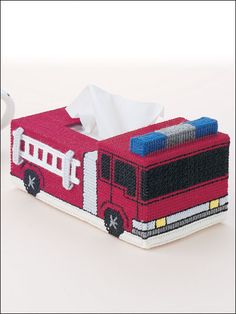 Plastic Canvas - Tissue Topper Patterns - Family-Size Patterns - Fire Engine
