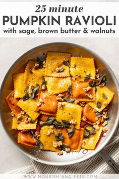 This easy recipe elevates store-bought pumpkin ravioli with sage brown butter sauce, toasted walnuts, and a surprise finishing touch. Seriously the best way to use Trader Joe's pumpkin ravioli! Fall Dinner Recipes, Fall Recipes, Orange Recipes, Summer Recipes, Easy Pasta Recipes, Easy Meals, Soup Recipes, Gluten Free Puff Pastry, Savory Pumpkin Recipes