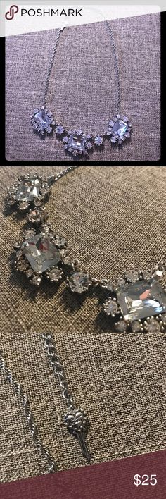 Betsey Johnson - Statement Necklace Betsey Johnson - Statement Necklace. Silver necklace with silver gems. Adjustable necklace clasp. Signature Betsey heart key on end of fastener. Betsey Johnson Jewelry Necklaces