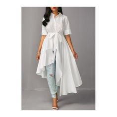 Rotita Half Sleeve High Low White Blouse (145 SAR) ❤ liked on Polyvore featuring tops, blouses, white collared blouse, white top, half sleeve tops, elbow length blouse and long blouse