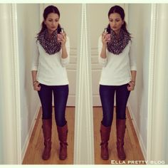 white sweater w/ jeans, tan boots and leopard print scarf