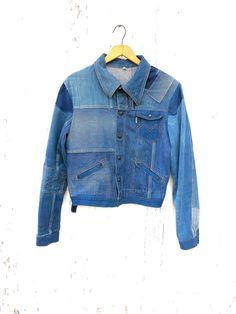 70s Denim Patchwork Jacket Sz S M Jocavi by HuntedFinds on Etsy