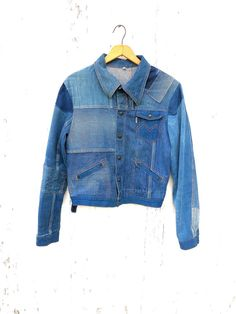 70s Denim Patchwork Jacket Sz S M Jocavi by HuntedFinds on Etsy