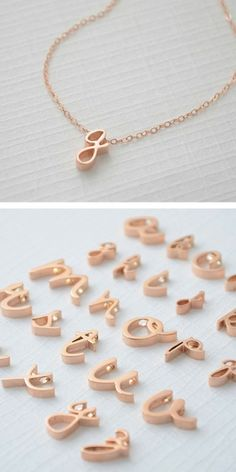 Rose Gold Cursive Initial Necklace...perfect for bridesmaid gifts!