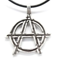 Amazon.com: Pewter Anarchy Symbol Biker Gothic Pendant on Leather Necklace: Sons Of Anarchy Jewelry: Jewelry