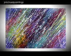 Large Abstract Acrylic Painting Original Modern Canvas Art Colorful Vivid Rainbow Contemporary 24x36 JMichael