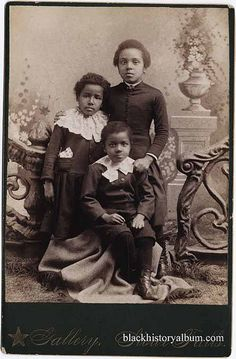 SSiblings | 1885  Full length group portrait of three African American children, ca 1885. Randolph L. Simpson African-American collection. Beinecke Rare Book and Manuscript Library, Yale University.   Vintage African American photography courtesy of Black History Album, The Way We Were.iblings | 1885