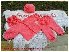 Scorzo Tricroche: Conjunto completo de roupa de bebê feito de crochê...