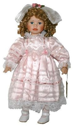 Porcelain Doll: Porcelain Doll 21 Standing With Pink Dress Lace Trimming and Hair Bow and Curly Blond Hair ** You can get more details by clicking on the image. Porcelain Doll Makeup, Vintage Porcelain Dolls, Pink Dress, Lace Dress, Realistic Dolls, Pink Outfits, Doll Accessories, Vintage Children, Lace Trim