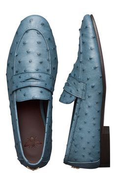 Blue Ostrich Loafers by Bougeotte
