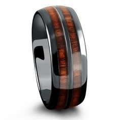 barrel ceramic koa wood ring - Mens Wooden Wedding Rings