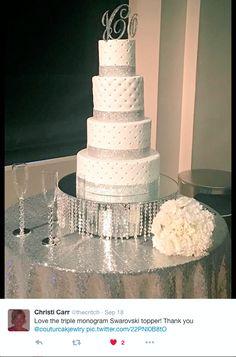 Stunning Crystal Letter Cake Topper! #weddingcaketopper #lettercaketopper #monogramcaketopper #silverletterweddingtopper