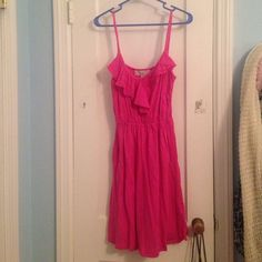 Hot pink LOFT dress! Adorable hot pink dress with a cinched waist and ruffled neckline! It has only been worn twice and is in great condition! LOFT Dresses Midi