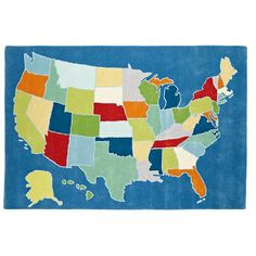 for my globe/map themed nursery.  The Land of Nod | Kids' Rugs: Kids United States Rug in Interactive Rugs