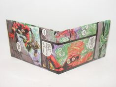 Valentines Day Gift Sale Comic Book Wallet// JLA// Flash (Wally West) and Aquaman, $2.25