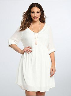 "<p>Get ready to fall in love with this shirt dress. Ethereal white gauze material lends a breezy and crisp feel to the romantic overlay. Delicate embroidery cascades down the polished button front (lending a boho feel). Tonal slip underlay keeps you covered.</p><p> </p><p><b>Model is 5'9.5"", size 1</b></p><ul>	<li>Size 1 measures 41"" from shoulder</li>	<li>Rayon/polyester</li>	<li>Dry clean only</li>	<li>Imported plus size dress</li></ul>"