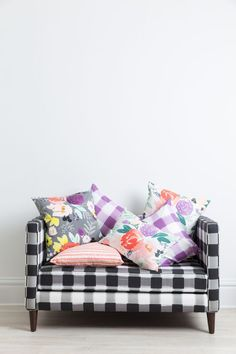 Pretty floral, stripe and buffalo check pillows from Caitlin Wilson Design