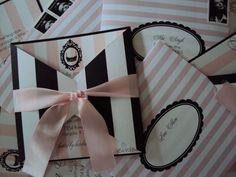 Parisian Lingerie Shower invites :  wedding paris shower invitation pink black white lingerie diy invitations DSC00007