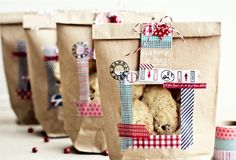 Tie a brown paper bag up with string to make these cookie packages.