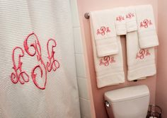Shower Curtain and Towels. Will have this but will spare Westley and do something other than pink!