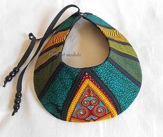 www.cewax.fr aime ce collier plastron style ethnique tendance tribale tissu africain wax daishiki ankara vert BarefootModiste