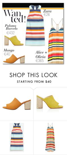 """Get It For Less: Stripes & Mules"" by fashionistalooks ❤ liked on Polyvore featuring MANGO, Paloma Barceló and Alice + Olivia"
