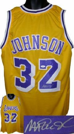 21bad542c Magic Johnson signed Los Angeles Lakers Prostyle Yellow Jersey .  400.14. Magic  Johnson was selected first overall in the 1979 NBA Draft by the Lakers.