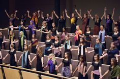 Another image of GC's Women's International Women's Chorus. My incredible daughter, Rhianna, is in the last row in the bright yellow scarf! Music Theater, Theatre, Goshen College, College Campus, World Music, Bright Yellow, Singing, Daughter, Theater