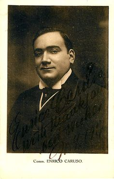 Nice signed photo postcard of the super star tenor (1873-1921), with a short sentiment, dated in 1917 in New York. Size is 3.5 x 5.5 inches, poor contrast but still clearly visible, in excellent condi